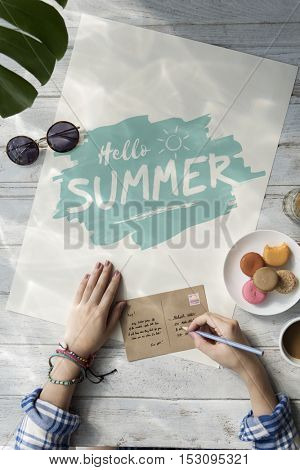 Hello Summer Writing Letter Concept