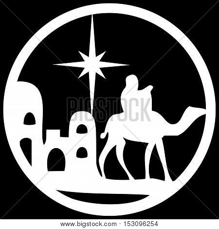 Adoration of the Magi silhouette icon vector illustration white on black background. Scene of the Holy Bible