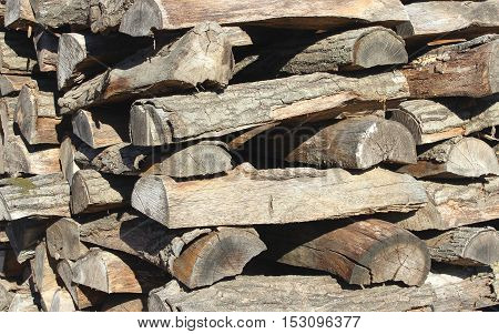 A stack of dry firewood ready for the woodstove.
