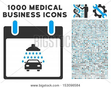 Blue And Gray Car Shower Calendar Day glyph icon with 1000 medical business pictograms. Set style is flat bicolor symbols, blue and gray colors, white background.