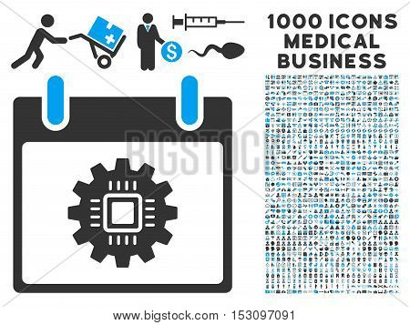 Blue And Gray Chip Gear Calendar Day glyph icon with 1000 medical business pictograms. Set style is flat bicolor symbols, blue and gray colors, white background.
