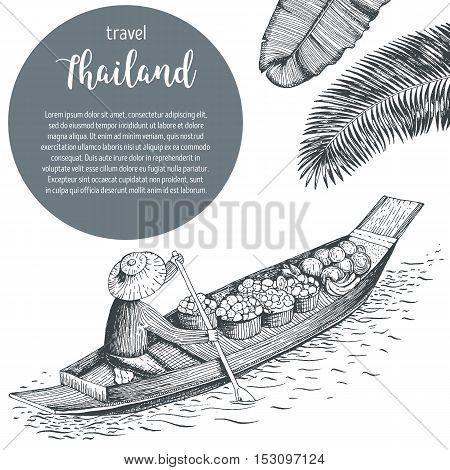 Thailand travel design. Floating market. Thailand poster vector illustration.