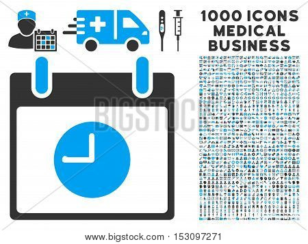 Blue And Gray Clock Calendar Day glyph icon with 1000 medical business pictograms. Set style is flat bicolor symbols, blue and gray colors, white background.
