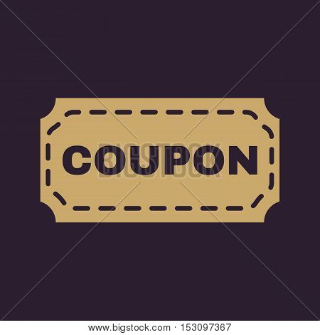 The coupon icon. Discount and gift, offer symbol. Flat Vector illustration
