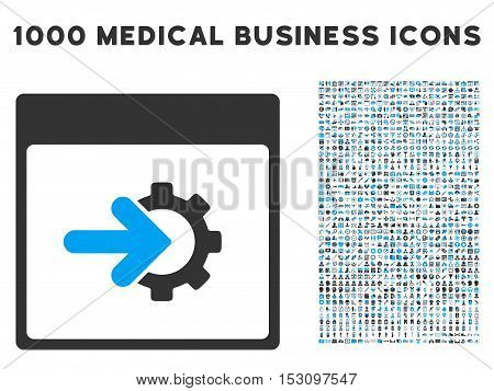Blue And Gray Cog Integration Calendar Page glyph icon with 1000 medical business pictograms. Set style is flat bicolor symbols, blue and gray colors, white background.