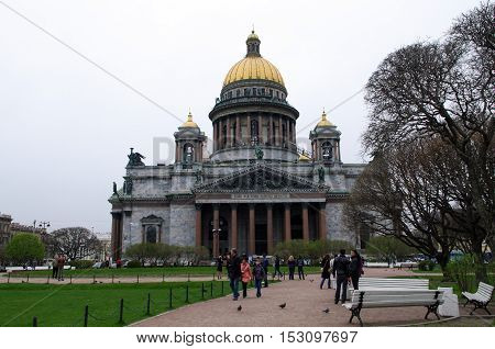 SAINT PETERSBURG RUSSIA - MAY 01 2014: the view of Saint Isaac's cathedral dome or Isaakievskiy Sobor architect Auguste de Montferrand.