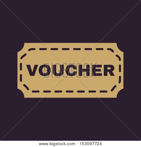 The voucher icon. Coupon and gift, offer, discount symbol. Flat Vector illustration