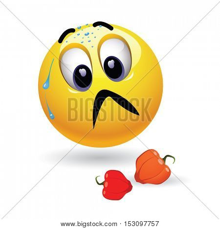 Very hot chili pepper causing pain and fear with smiley who eats it. Humoristic vector illustration. Hot pepper challenge.