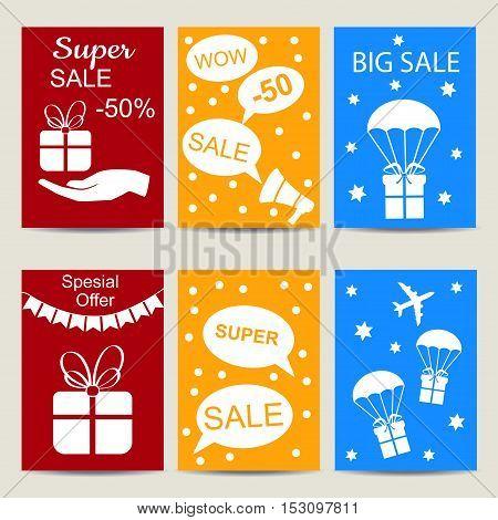 Sale banners colorful set. Big sale sticker. Vector illustration