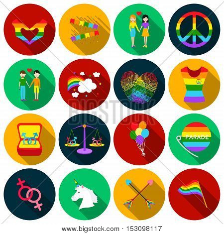 Gay set icons in flat style. Big collection gay vector symbol stock