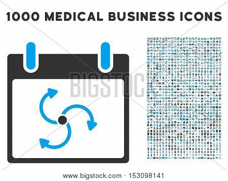 Blue And Gray Cyclone Calendar Day glyph icon with 1000 medical business pictograms. Set style is flat bicolor symbols, blue and gray colors, white background.