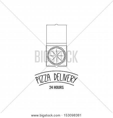 Pizza Box. Pizza Delivery. Traditional Italian Cuisine. Vector Illustration