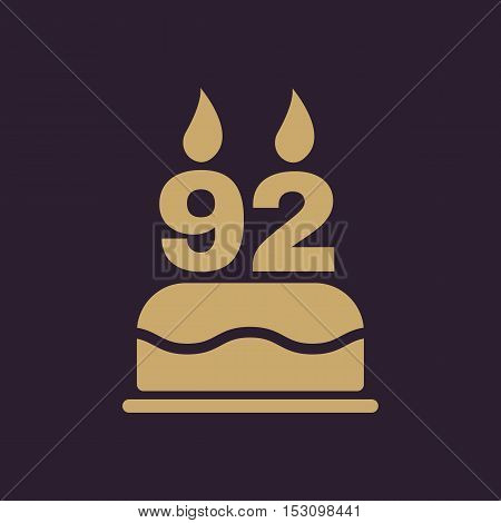 The birthday cake with candles in the form of number 92 icon. Birthday symbol. Flat Vector illustration