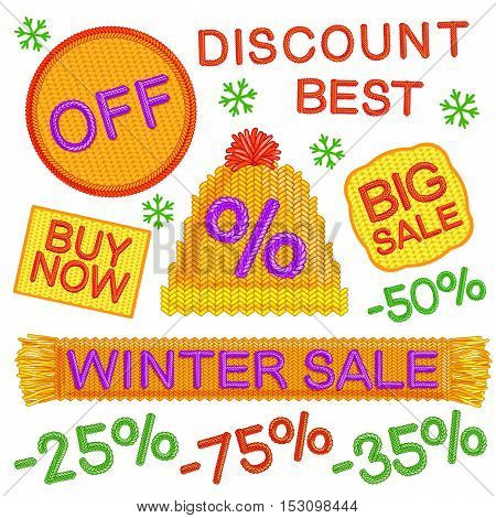 Winter Sale badges set with knit words and advertising in yellow color vector illustration
