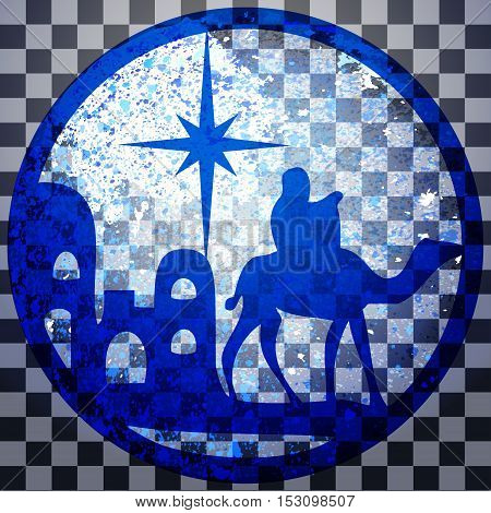 Adoration of the Magi silhouette icon vector illustration blue on gray transparent background. Scene of the Holy Bible
