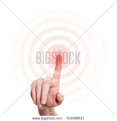 Hand Press on Red Button on White Background