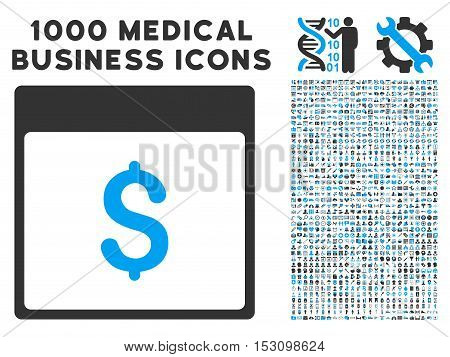 Blue And Gray Dollar Currency Calendar Page glyph icon with 1000 medical business pictograms. Set style is flat bicolor symbols, blue and gray colors, white background.