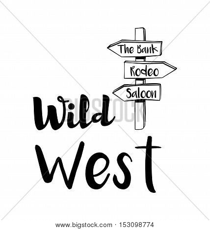 Wild west road arrow signs. American Western. Vector Illustration. Isolated On White Background