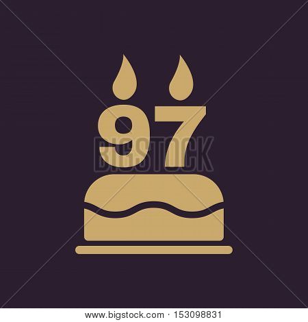 The birthday cake with candles in the form of number 97 icon. Birthday symbol. Flat Vector illustration