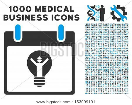 Blue And Gray Electrician Calendar Day glyph icon with 1000 medical business pictograms. Set style is flat bicolor symbols, blue and gray colors, white background.