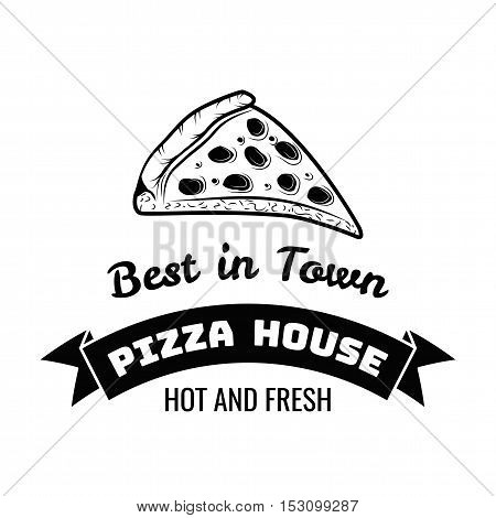 Slice Of Pizza. The best Pizza in Town. Pizza Delivery. Traditional Italian Cuisine. Vector Illustration