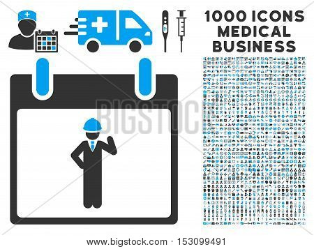 Blue And Gray Engineer Calendar Day glyph icon with 1000 medical business pictograms. Set style is flat bicolor symbols, blue and gray colors, white background.