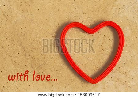 Red Heart Shape On A Background Of Dough With  Inscription