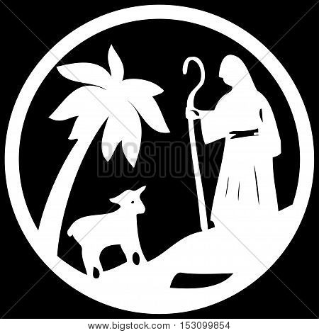 Shepherd and Sheep silhouette icon vector illustration white on black background. Scene of the Holy Bible