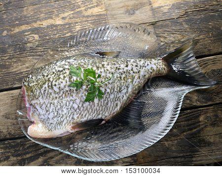 big fresh fish bream on glass plate