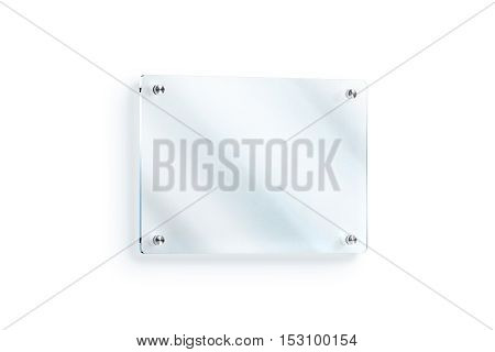Blank glass sign plate wall-mounted mockup clipping path 3d rendering. Clear acrylic signboard design mock up. Empty shiny nameplate holder fixed on white wall. Office door glassy signage template.