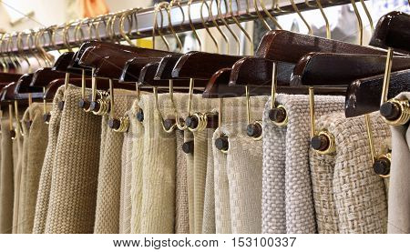 Hangers With Woven Fabrics And Tablecloths On Sale
