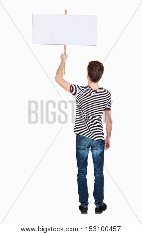 Back view man showing sign board. man holds information plate. Rear view people collection. backside view of person. Isolated over white background. man in a striped shirt holding a poster.