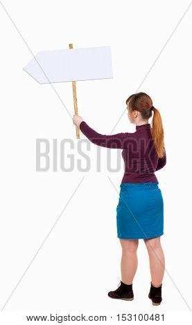 Back view woman showing sign board. man holds information plate. Rear view people collection. backside view of person. Isolated over white background. Girl in blue skirt holding a pointer.
