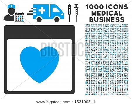 Blue And Gray Favourite Heart Calendar Page glyph icon with 1000 medical business pictograms. Set style is flat bicolor symbols, blue and gray colors, white background.