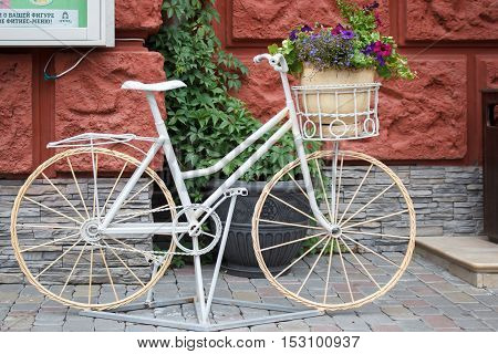 Flower Bed Of The Old Bicycle