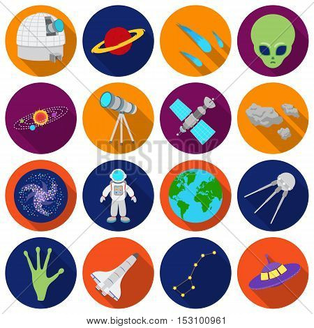 Space set icons in flat style. Big collection space vector symbol stock