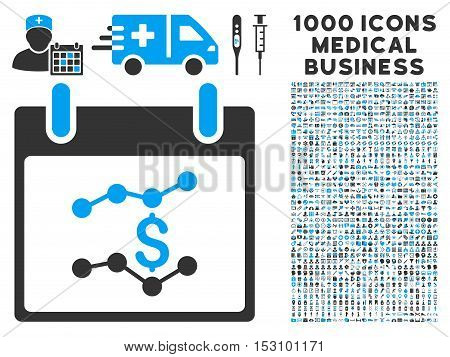 Blue And Gray Financial Charts Calendar Day glyph icon with 1000 medical business pictograms. Set style is flat bicolor symbols, blue and gray colors, white background.