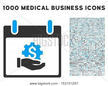 Blue And Gray Financial Development Hand Calendar Day glyph icon with 1000 medical business pictograms. Set style is flat bicolor symbols, blue and gray colors, white background.
