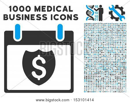 Blue And Gray Financial Shield Calendar Day glyph icon with 1000 medical business pictograms. Set style is flat bicolor symbols, blue and gray colors, white background.