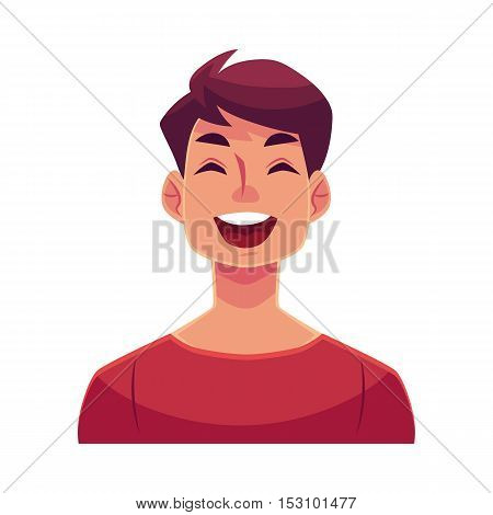 Young man face, laughing facial expression, cartoon vector illustrations isolated on white background. Handsome boy emoji laughing out load with closed eyes and open mouth. Laughing face expression
