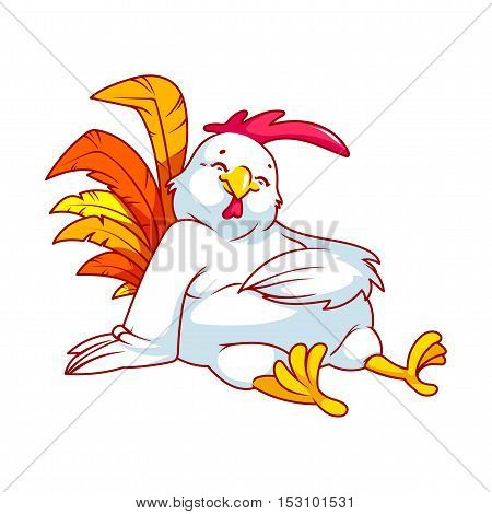 Colorful fat rooster. Symbol of 2017. Vector cartoon character on a white background.