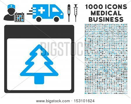 Blue And Gray Fir Tree Calendar Page glyph icon with 1000 medical business pictograms. Set style is flat bicolor symbols, blue and gray colors, white background.