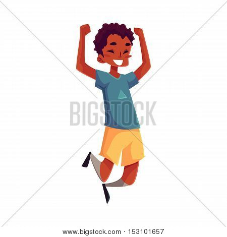 Little black boy jumping from happiness, cartoon vector illustrations isolated on white background. Happy African American boy in shorts and t-shirt jumping in excitement