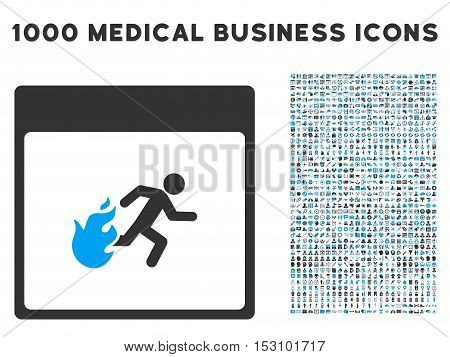 Blue And Gray Fire Evacuation Man Calendar Page glyph icon with 1000 medical business pictograms. Set style is flat bicolor symbols, blue and gray colors, white background.