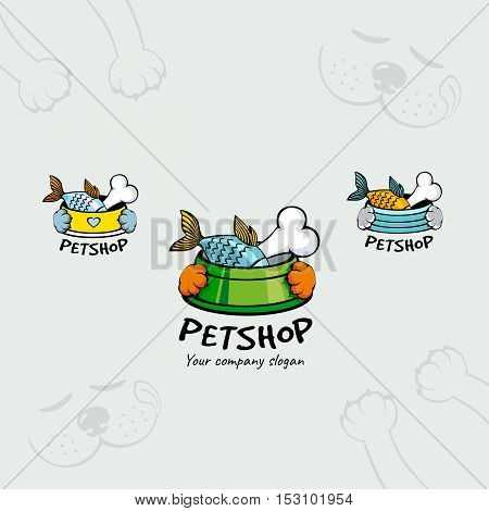 Cartoon pet shop logotype with fish and bone in a bowl holding in pet paws.