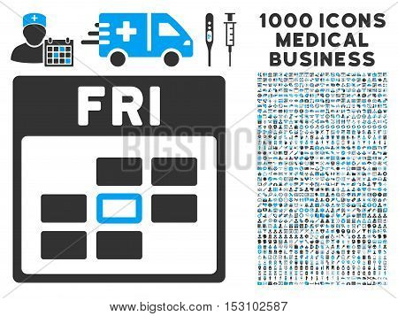 Blue And Gray Friday Calendar Grid glyph icon with 1000 medical business pictograms. Set style is flat bicolor symbols, blue and gray colors, white background.