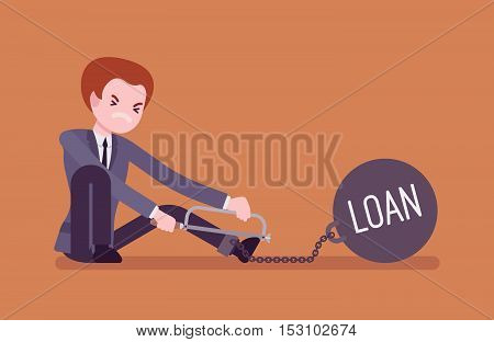 Businessman chained with a giant metall weight with a title Loan trying to escape, sawing. Cartoon vector flat-style concept illustration