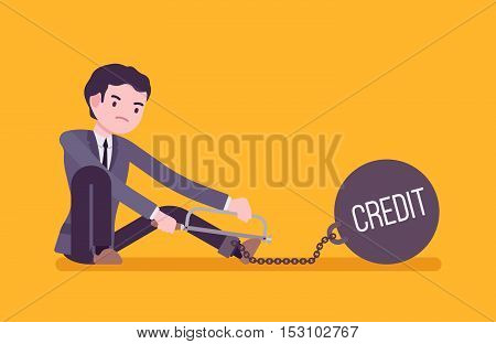 Businessman chained with a giant metall weight with a title Credit trying to escape, sawing. Cartoon vector flat-style concept illustration