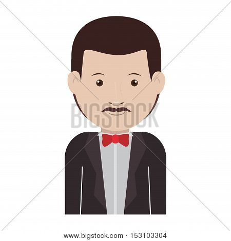 avatar male man smiling with mustache and wearing suit and tie over white background. vector illustration