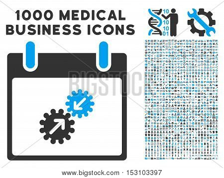 Blue And Gray Gears Integration Calendar Day glyph icon with 1000 medical business pictograms. Set style is flat bicolor symbols, blue and gray colors, white background.